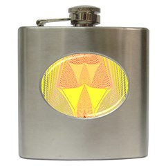 Wave Chevron Plaid Circle Polka Line Light Yellow Red Blue Triangle Hip Flask (6 Oz) by Mariart