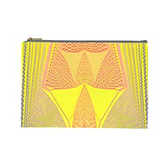 Wave Chevron Plaid Circle Polka Line Light Yellow Red Blue Triangle Cosmetic Bag (large)
