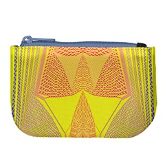 Wave Chevron Plaid Circle Polka Line Light Yellow Red Blue Triangle Large Coin Purse by Mariart
