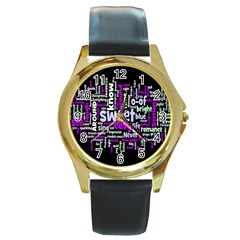Writing Color Rainbow Sweer Love Round Gold Metal Watch by Mariart