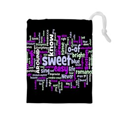 Writing Color Rainbow Sweer Love Drawstring Pouches (large)  by Mariart