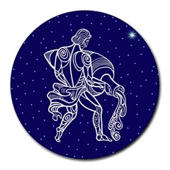 Aquarius Zodiac Star Round Mousepads