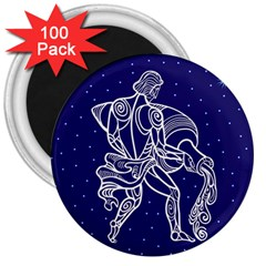 Aquarius Zodiac Star 3  Magnets (100 Pack) by Mariart