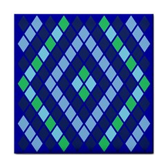 Blue Diamonds Green Grey Plaid Line Chevron Tile Coasters by Mariart