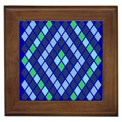 Blue Diamonds Green Grey Plaid Line Chevron Framed Tiles by Mariart