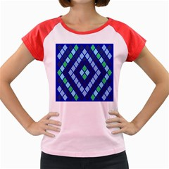 Blue Diamonds Green Grey Plaid Line Chevron Women s Cap Sleeve T Shirt