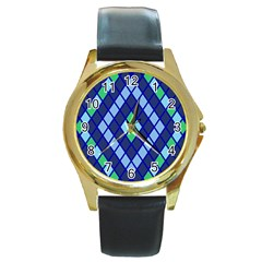 Blue Diamonds Green Grey Plaid Line Chevron Round Gold Metal Watch by Mariart