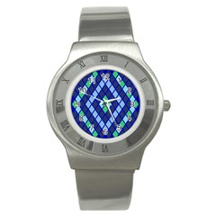 Blue Diamonds Green Grey Plaid Line Chevron Stainless Steel Watch by Mariart
