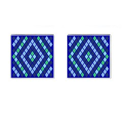 Blue Diamonds Green Grey Plaid Line Chevron Cufflinks (square) by Mariart
