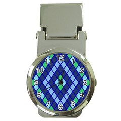 Blue Diamonds Green Grey Plaid Line Chevron Money Clip Watches by Mariart