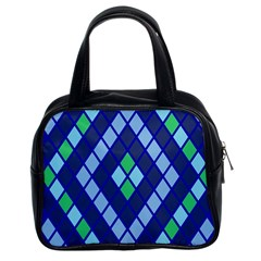 Blue Diamonds Green Grey Plaid Line Chevron Classic Handbags (2 Sides) by Mariart