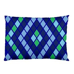 Blue Diamonds Green Grey Plaid Line Chevron Pillow Case by Mariart