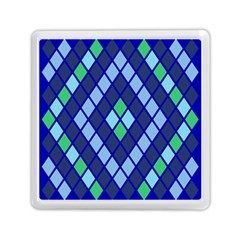 Blue Diamonds Green Grey Plaid Line Chevron Memory Card Reader (square)  by Mariart