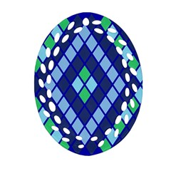 Blue Diamonds Green Grey Plaid Line Chevron Oval Filigree Ornament (two Sides) by Mariart