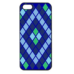 Blue Diamonds Green Grey Plaid Line Chevron Apple Iphone 5 Seamless Case (black) by Mariart