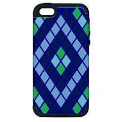 Blue Diamonds Green Grey Plaid Line Chevron Apple Iphone 5 Hardshell Case (pc+silicone) by Mariart
