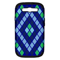 Blue Diamonds Green Grey Plaid Line Chevron Samsung Galaxy S Iii Hardshell Case (pc+silicone) by Mariart