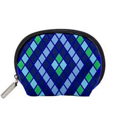 Blue Diamonds Green Grey Plaid Line Chevron Accessory Pouches (small)  by Mariart