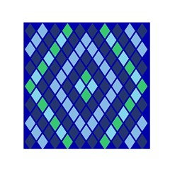 Blue Diamonds Green Grey Plaid Line Chevron Small Satin Scarf (square) by Mariart