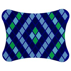 Blue Diamonds Green Grey Plaid Line Chevron Jigsaw Puzzle Photo Stand (bow) by Mariart