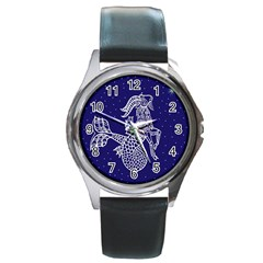 Capricorn Zodiac Star Round Metal Watch by Mariart