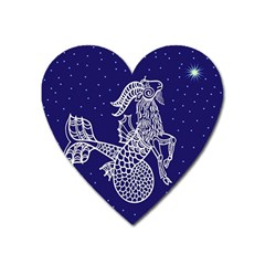 Capricorn Zodiac Star Heart Magnet by Mariart