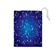 Astrology Illness Prediction Zodiac Star Drawstring Pouches (medium)  by Mariart