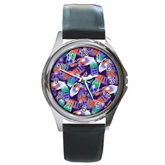 Bird Feathers Color Rainbow Animals Fly Round Metal Watch by Mariart