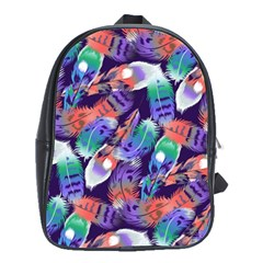 Bird Feathers Color Rainbow Animals Fly School Bags(large)