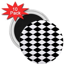 Diamond Black White Plaid Chevron 2 25  Magnets (10 Pack)  by Mariart