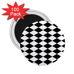 Diamond Black White Plaid Chevron 2 25  Magnets (100 Pack)