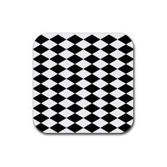 Diamond Black White Plaid Chevron Rubber Square Coaster (4 Pack)  by Mariart