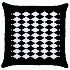 Diamond Black White Plaid Chevron Throw Pillow Case (black) by Mariart