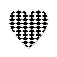 Diamond Black White Plaid Chevron Heart Magnet by Mariart