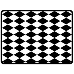Diamond Black White Plaid Chevron Double Sided Fleece Blanket (large)