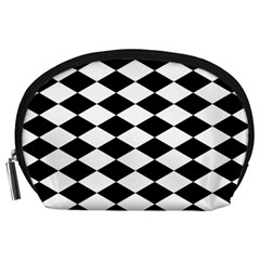 Diamond Black White Plaid Chevron Accessory Pouches (large)