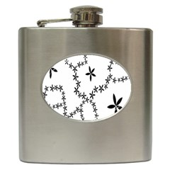 Flower Floral Black Line Wave Chevron Fleurs Hip Flask (6 Oz) by Mariart