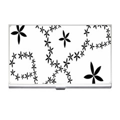 Flower Floral Black Line Wave Chevron Fleurs Business Card Holders by Mariart