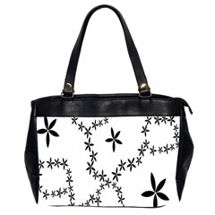 Flower Floral Black Line Wave Chevron Fleurs Office Handbags (2 Sides)  by Mariart
