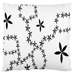 Flower Floral Black Line Wave Chevron Fleurs Large Cushion Case (one Side) by Mariart