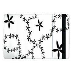 Flower Floral Black Line Wave Chevron Fleurs Samsung Galaxy Tab Pro 10 1  Flip Case by Mariart
