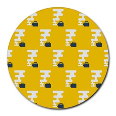 Fog Machine Fogging White Smoke Yellow Round Mousepads