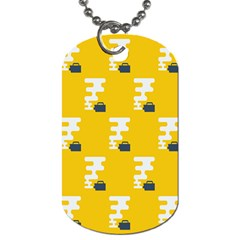 Fog Machine Fogging White Smoke Yellow Dog Tag (one Side) by Mariart