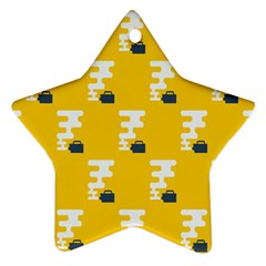 Fog Machine Fogging White Smoke Yellow Star Ornament (two Sides) by Mariart