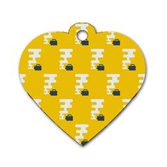 Fog Machine Fogging White Smoke Yellow Dog Tag Heart (one Side) by Mariart