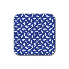 Birds Silhouette Pattern Rubber Coaster (square)  by dflcprintsclothing