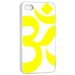 Hindu Om Maze Yellow Symbol  Apple Iphone 4/4s Seamless Case (white) by abbeyz71