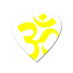 Hindu Om Symbol (maze Yellow) Heart Magnet by abbeyz71