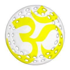 Hindu Om Symbol (maze Yellow) Ornament (round Filigree) by abbeyz71