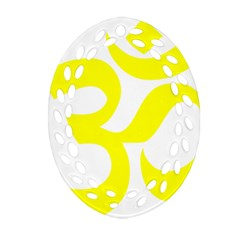 Hindu Om Symbol (maze Yellow) Oval Filigree Ornament (two Sides) by abbeyz71